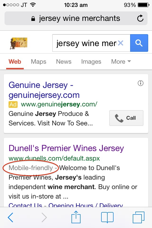 "Google now favouring ""mobile friendly"" websites with labelling"